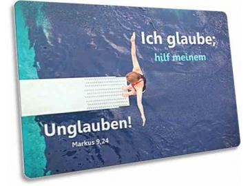 Jahreslosung 2020 Postkarte: Turmspringerin- Jahreslosungskarte