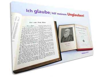 Jahreslosung 2020 Postkarte: Alte Bibel & Darwin-Buch - Jahreslosungskarte