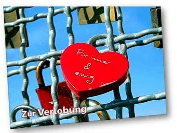 Christliche Verlobungskarte Motiv: Rotes Liebesschloss