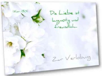 Christliche Verlobungskarte Motiv: Weiße Blüten