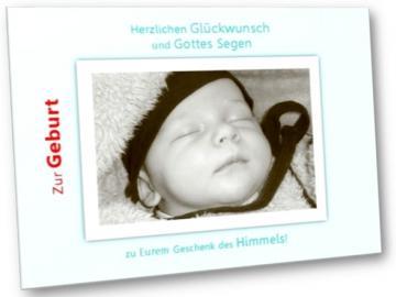 Christliche Geburtskarte: Baby mit Mützchen- Faltkarte zur Geburt