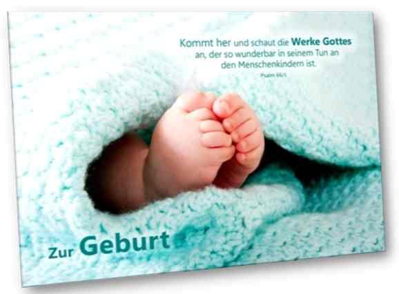 Christliche Geburtskarte: Babyfüßchen - Faltkarte zur Geburt