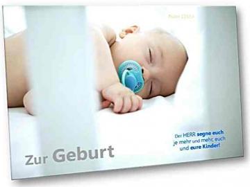 Christliche Geburtskarte: Baby im Bettchen - Faltkarte zur Geburt - Psalm 115,14