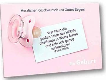 Geburtskarte, christlich: Rosa Schnuller mit Notitzzettel - Faltkarte