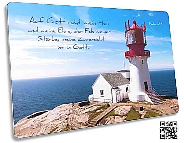 Christliche Postkarte mit tollem Motiv: Leuchtturm auf Felsen - Psalm 62,8