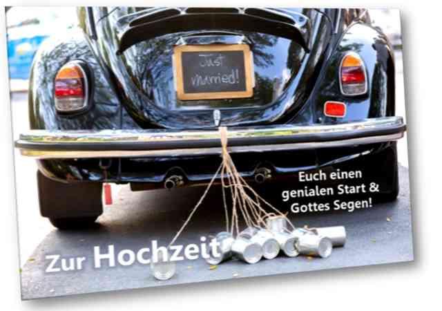 Christliche Hochzeitskarte - Faltkarte, mit Kuvert - Motiv: VW Käfer als Brautauto