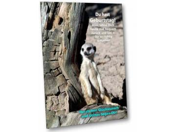 Christliche Geburtstagskarte: Erdmännchen angelehnt