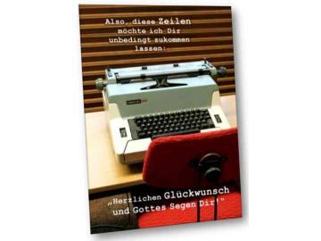 Christliche Geburtstagskarte: Schreibmaschine