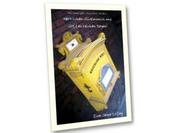 Christliche Geburtstagskarte: Antiker Postkasten - Karte Geburtstag
