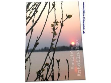 Christliche Trauerkarte: Zweige vor Abendsonne