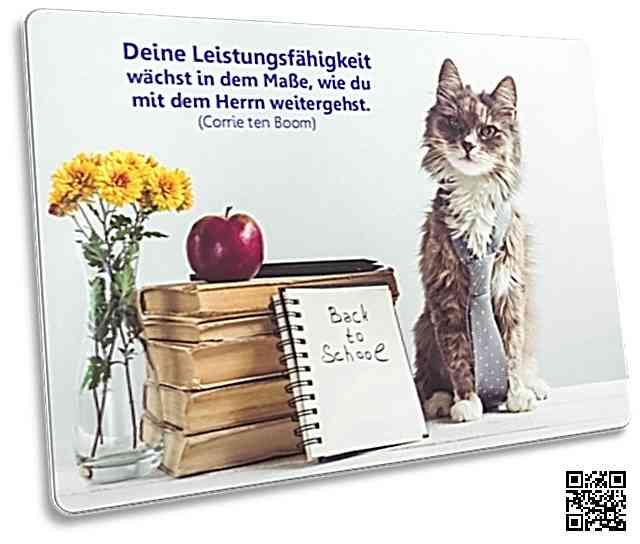 Christliche Postkarte: Katze mit Schlips - Zitat von Corrie ten Boom