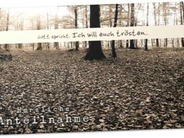 Christliche Trauerkarte: Herbstwald -Beileidskarte