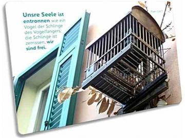 Christliche Postkarte: Vogelkäfig neben Fenster - Psalm 124,7
