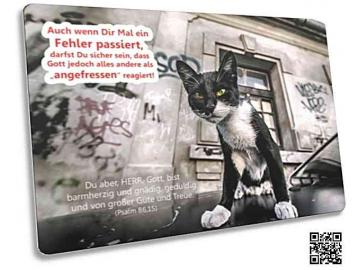 Christliche Postkarte: Schwarz-weiße Straßenkatze - Psalm 86,1