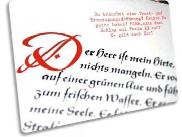 Christliche Postkarte : Blatt mit dem Psalm 23