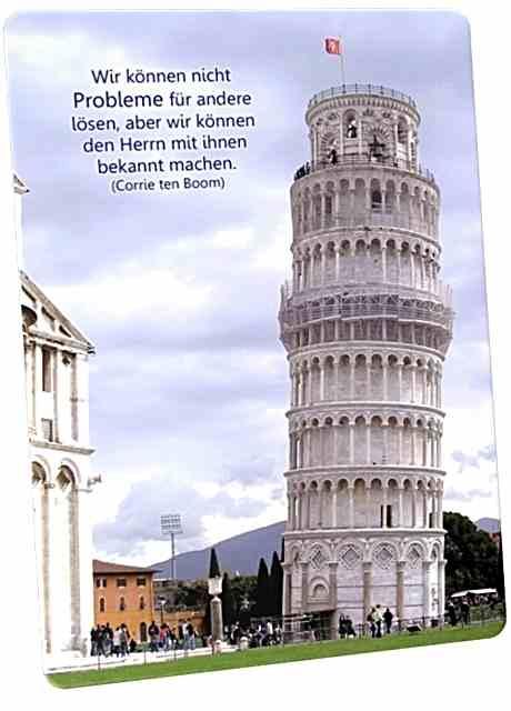 Christliche Postkarte: Der schiefe Turm von Pisa