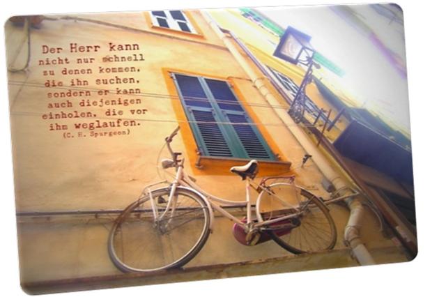 Christliche Postkarte: Nostalgisches Fahrrad - Zitat von C. H. Spurgeon