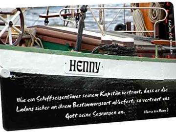 Christliche Postkarte: Nostalgieschiff Henny - Zitat von Corrie ten Boom