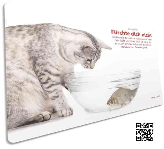 Christliche Postkarte: Katze beobachtet Fisch in Wasserschale - Bibelvers Jesaja 41,10