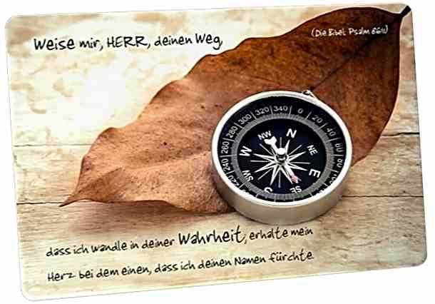Christliche Postkarte: Kompass - Mit Bibelvers: Psalm 86,11
