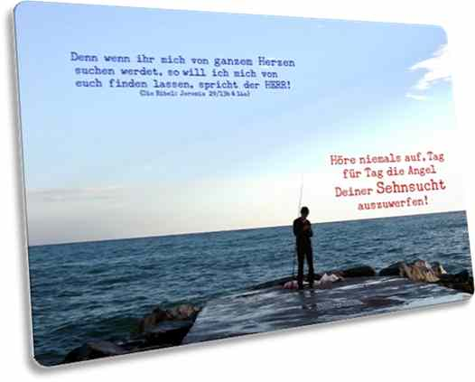 Christliche Postkarte: Angler am Meeresufer