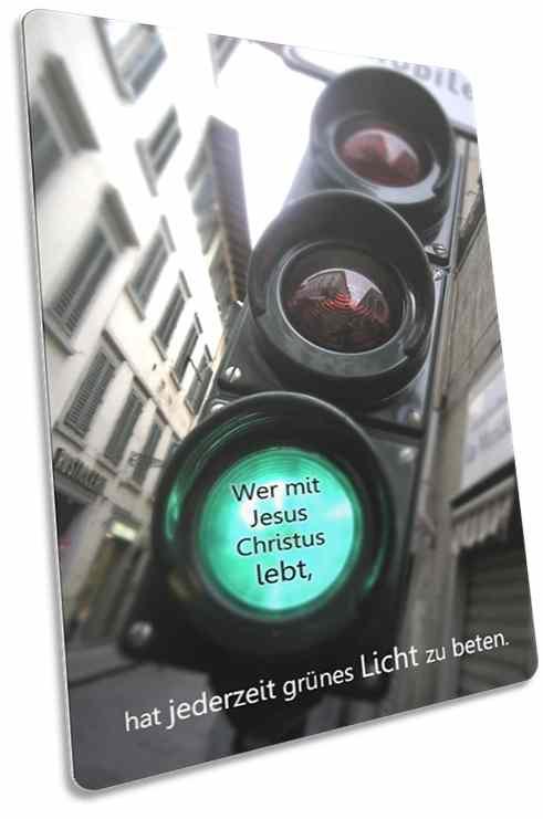 Christliche Postkarte: Grüne Fußgängerampel