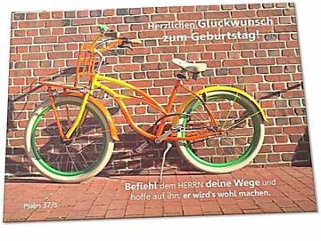 Christliche Geburtstagskarte: Grellbuntes Fahrrad