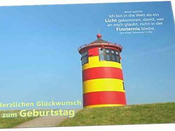 Christliche Geburtstagskarte: Leuchtturm Pilsum