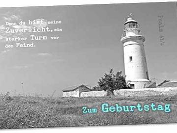 Christliche Postkarte: Britischer Leuchtturm Paphos - Psalm 61,4