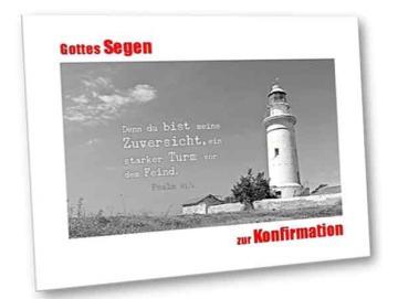 Christliche Konfirmationskarte: Britischer Leuchtturm