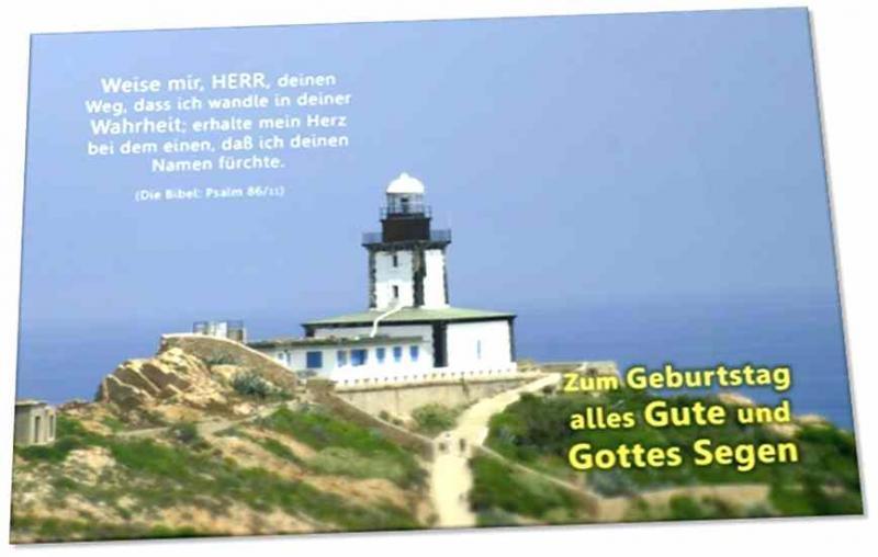 Christliche Gratulationskarte: Leuchtturm auf Korsika