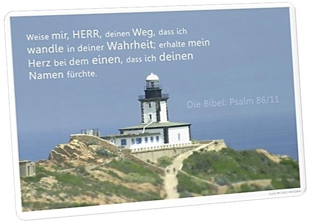 Christliche Postkarte: Leuchtturm auf Korsika