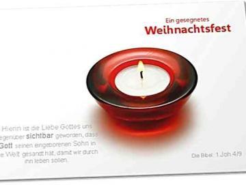 Christliche Weihnachtskarte: Roter Teelichthalter