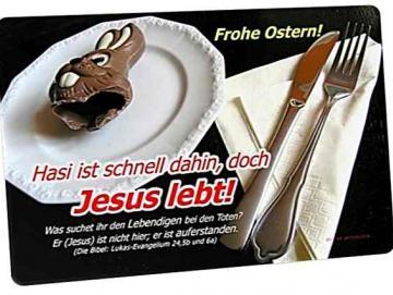 Christliche Osterkarte: Teller mit Schokohasenreste