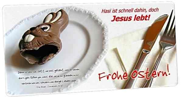 Christliche Osterkarte Maxicard: Teller mit Schokohasenreste