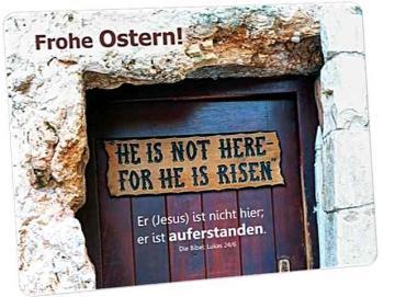 Christliche Osterkarte: Tafel an der Tür zum Gartengrab