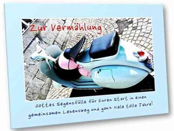 Christliche Hochzeitskarte : Startbereiter Motorroller