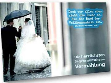 Christliche Hochzeitskarte:  Brautpaar im Regen - Karte zur Hochzeit