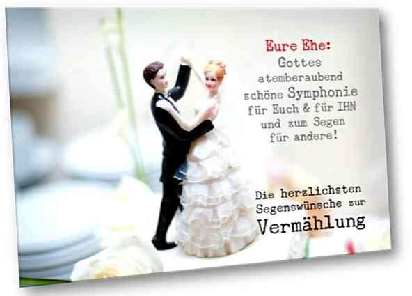 Christliche Hochzeitskarte: Hochzeitspaarfiguren auf Hochzeitstorte