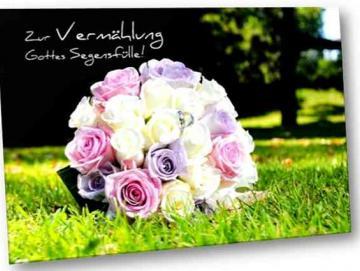 Christliche Hochzeitskarte mit dem Motiv: Brautstrauß im Gras