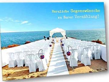 Christliche Hochzeitskarte: Strandhochzeit - Karte zur Vermählung