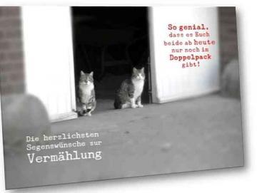 Christliche Hochzeitskarte: Katzenpaar vor Scheune