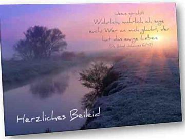 Christliche Trauerkarte: Flusslandschaft
