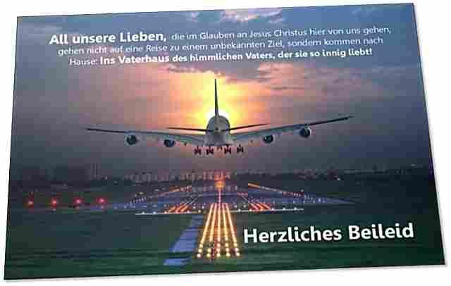 Christliche Trauerkarte: Flugzeug im Landeanflug
