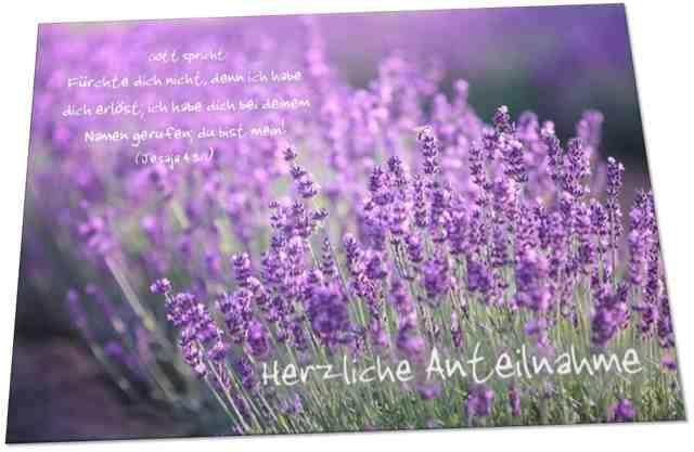 Christliche Trauerkarte: Lavendelblüten