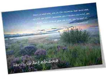 Christliche Trauerkarte: Morgendämmerung in der Heide