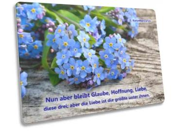 Christliche Postkarte: Vergissmeinnicht-Blüten - 1. Korinther 13,13