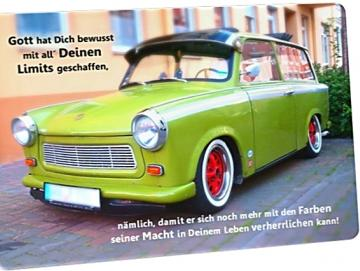 Christliche Postkarte: Grüner Trabi
