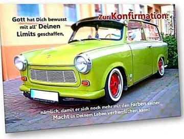 Christliche Konfirmationskarte: Grüner Trabi - Klappkarte Konfirmation