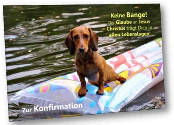 Christliche Konfirmationskarte: Dackel auf Luftmatratze